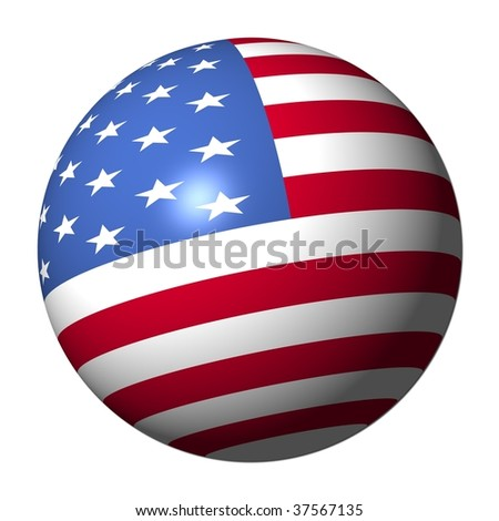 American flag sphere isolated on white illustration - stock photo