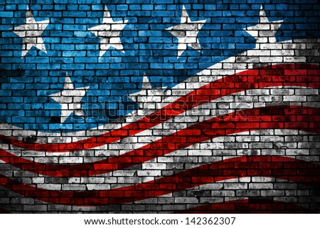 American Flag style brick wall grunge background - stock photo