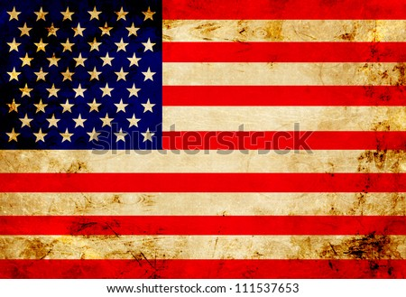 American flag with a vintage and old look - stock photo