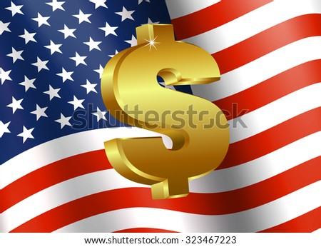 American Flag with Dollar Sign - Finance symbol with American Flag and Dollar Icon - Raster Version - stock photo