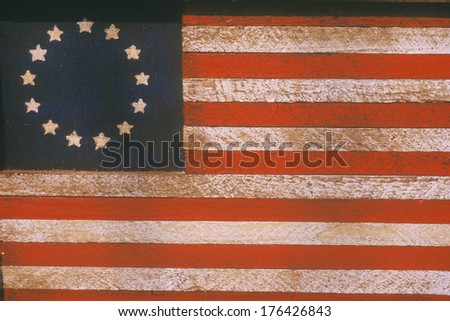 American Flag with Thirteen Stars Painted On Wood, United States - stock photo