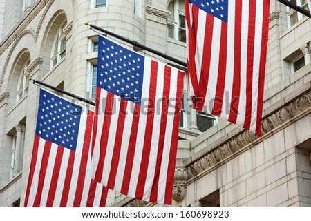 American Flags as Symbol of the American Nation - stock photo