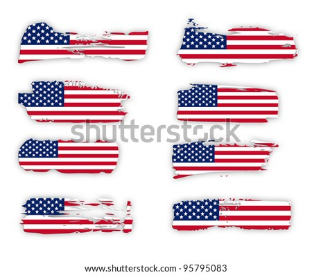 American Flags design collection over white background - stock photo