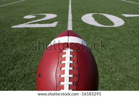 American Football above the Twenty Yard Line - stock photo