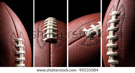 American football ball over a black background, collage - stock photo