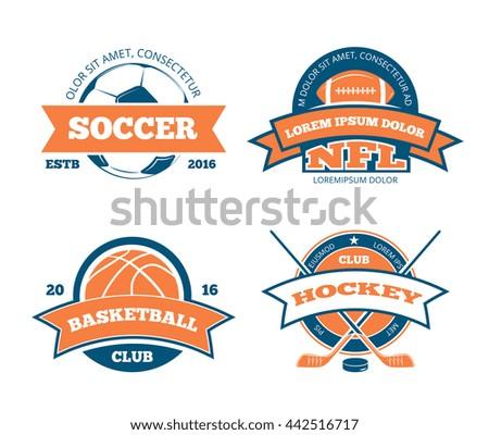 American football, basketball, soccer, hockey sports team labels - stock photo