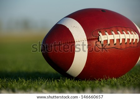 American Football Close Up on the Field with room for copy - stock photo