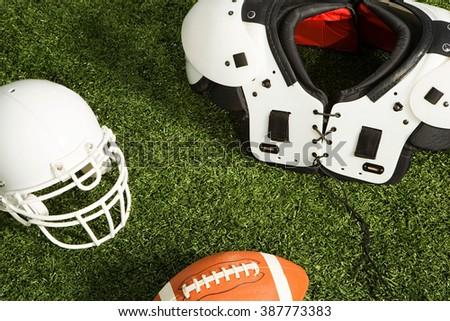 American football equipment - stock photo