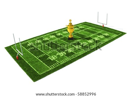 American football field isolated on white background with the golden trophy on the center - stock photo