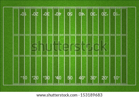 American Football Field with Dark and Light Grass Lines - stock photo