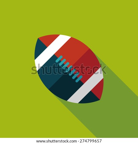 american football flat icon with long shadow - stock photo