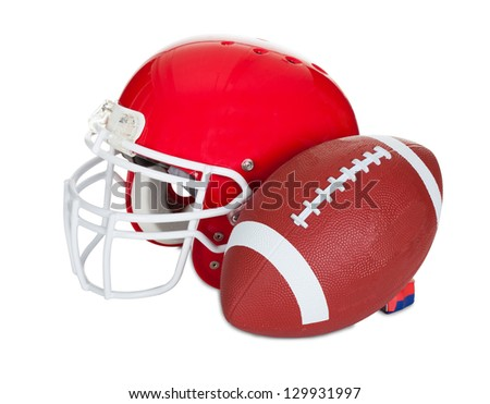 American football helmet. Isolated on white background - stock photo