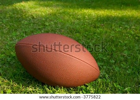 American football isolated on top of a grass background - stock photo