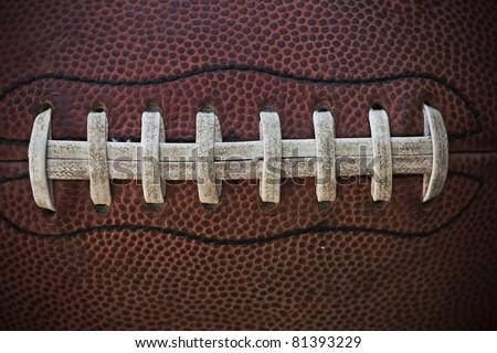 American Football Laces Close up Macro photo - stock photo