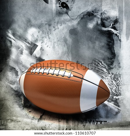 American football over grunge background - stock photo