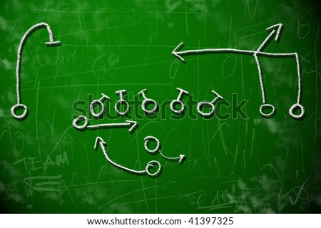 American football playbook diagram on chalkboard shows strategy planning concept. - stock photo