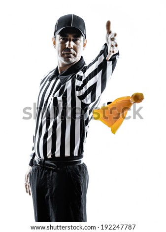 american football referee gestures in silhouettes on white background - stock photo