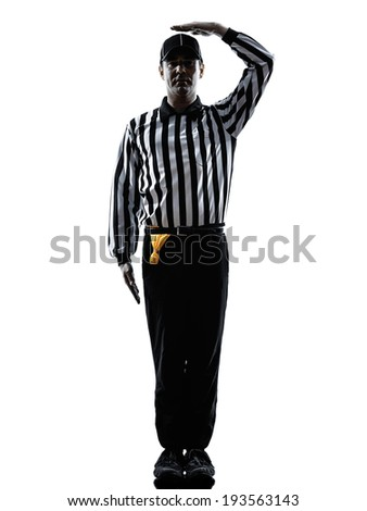 american football referee gestures uncatchable pass in silhouette on white background - stock photo