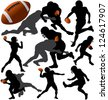 American football silhouettes. Raster version. - stock photo
