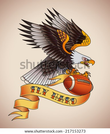 American football tattoo design of an eagle with a leather ball in its claws. Raster illustration. - stock photo