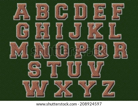 American football textured alphabet with clipping path - stock photo