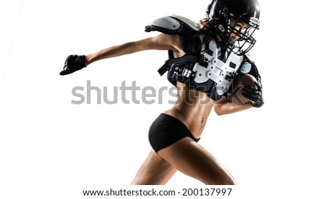 american football woman players isolated in white background - stock photo