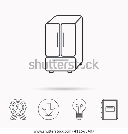 American fridge icon. Refrigerator sign. Download arrow, lamp, learn book and award medal icons. - stock photo
