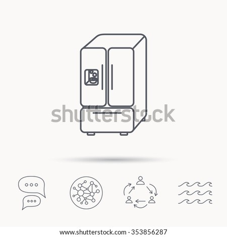 American fridge icon. Refrigerator with ice sign. Global connect network, ocean wave and chat dialog icons. Teamwork symbol. - stock photo