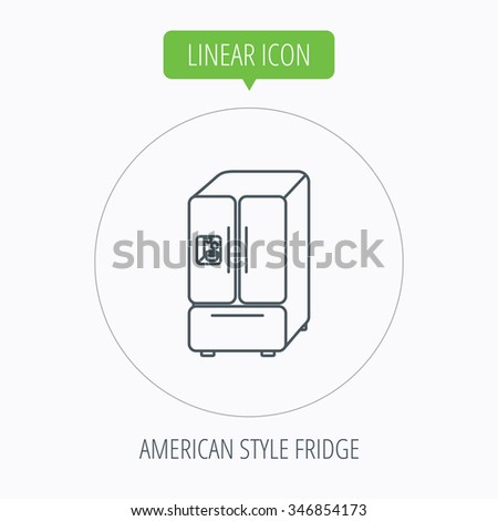 American fridge icon. Refrigerator with ice sign. Linear outline circle button.  - stock photo