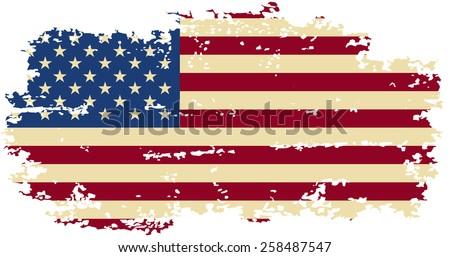 American grunge flag. Raster version - stock photo
