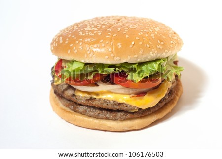 American Hamburger cheeseburger fast food on white isolation background - stock photo