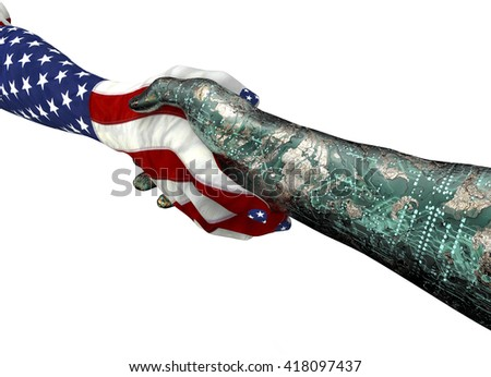american hand, shaking robothand isolated on white , 3d illustration - stock photo
