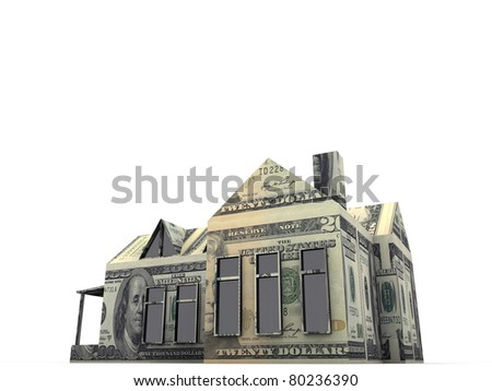 american house made with dollar bills - stock photo