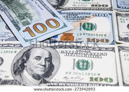 american hundred dollar bills - stock photo
