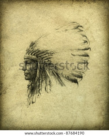 American Indian Chief - stock photo