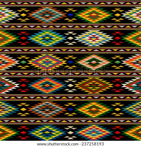 American Indian seamless pattern design in colors - stock photo