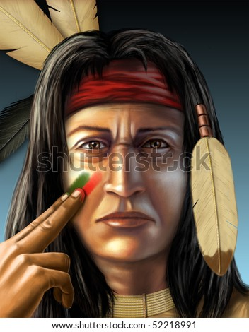 American indian warrior painting his face. Digital illustration, figure created from scratch, no model release necessary. - stock photo
