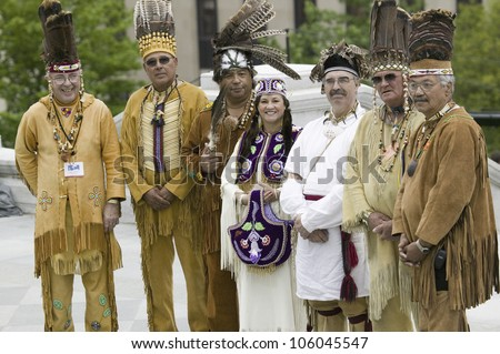 American Indians and Powhatan tribal leaders posing in front of Virginia State Capitol, Richmond Virginia, during ceremonies for the 400th Anniversary of the Jamestown Settlement on May 3, 2007 - stock photo