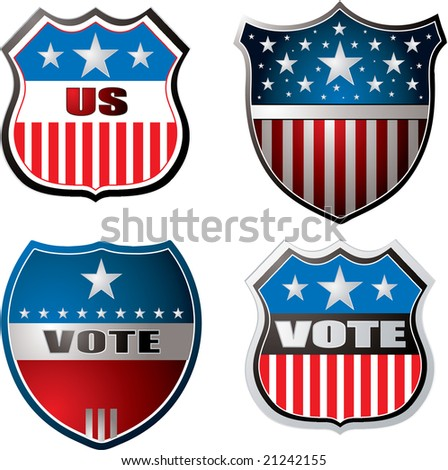 American inspired shields in red white and blue - stock photo