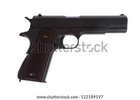 American legendary pistol on white background military model - stock photo