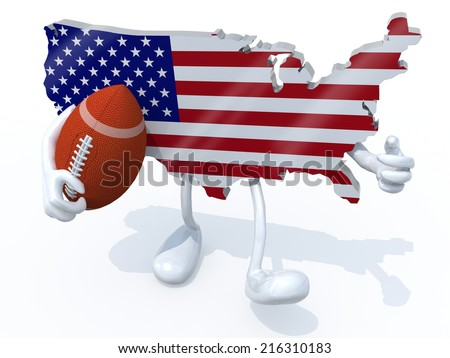 american map with arms, legs and rugby ball on hand, 3d illustration - stock photo