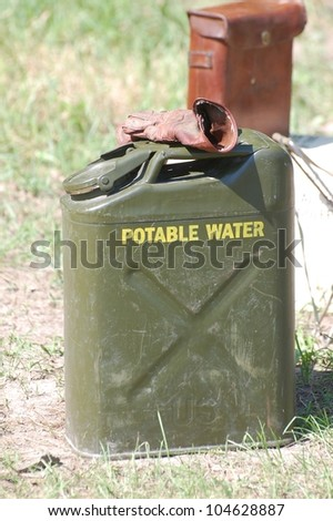 American military canister for water of WWII time - stock photo