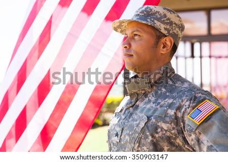 american military serviceman looking away - stock photo