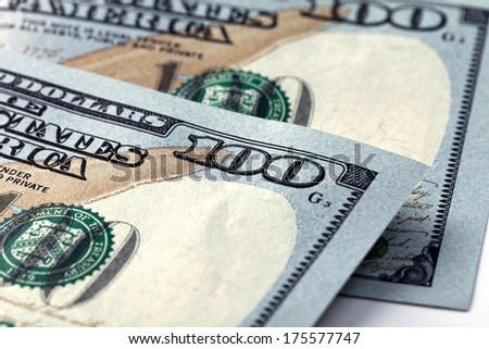 American money, hundred dollar bills - stock photo