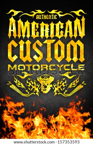 American motorcycle grunge poster with fire - card - poster design - stock photo