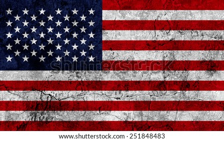 American national flag on an old worn weathered wall texture - stock photo