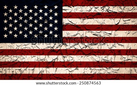 American national flag with paint peeled texture - stock photo