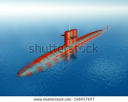 American Nuclear Submarine of the cold war Computer generated 3D illustration - stock photo