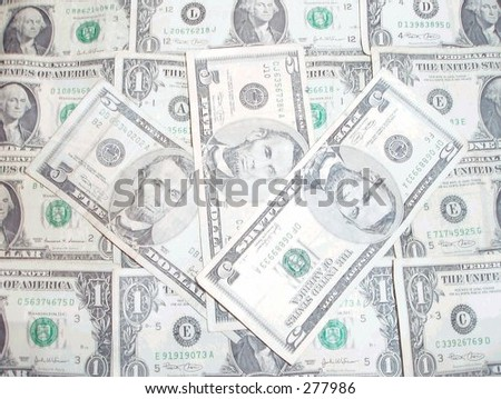 American one and five dollar bills - stock photo