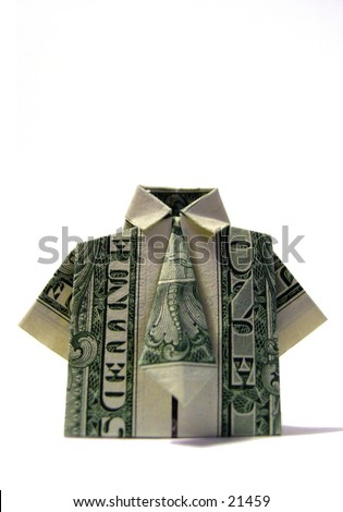 American one dollar bill folded origami style into a t-shirt - stock photo